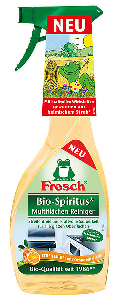 Frosch® Bio-Spirit Multisurface-Cleaner Orange has been produced with the sunliquid® bio-alcohol since the beginning of this year and is available at German retailers as of February 2016. Credit: Clariant